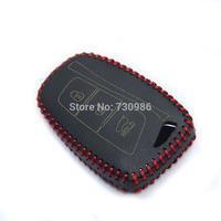 XuJi Black Genuine Leather Car Key Cover for for 2013 Hyundai Santa Fe