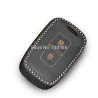 XuJi Black Genuine Leather Car Key Cover for 2012 Hyundai Santa Fe