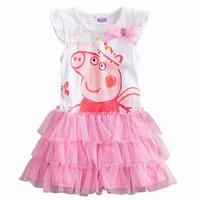 Peppa pig pepe 2014 bubble short-sleeve girl dress child princess dress one-piece cake dress