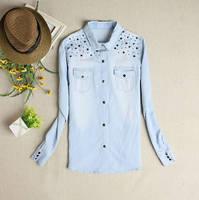 Women's Jeans Shirts Long Sleeve Plus Size all match rivet loose shirt Blouse Long Denim Shirts  loose denim blouse