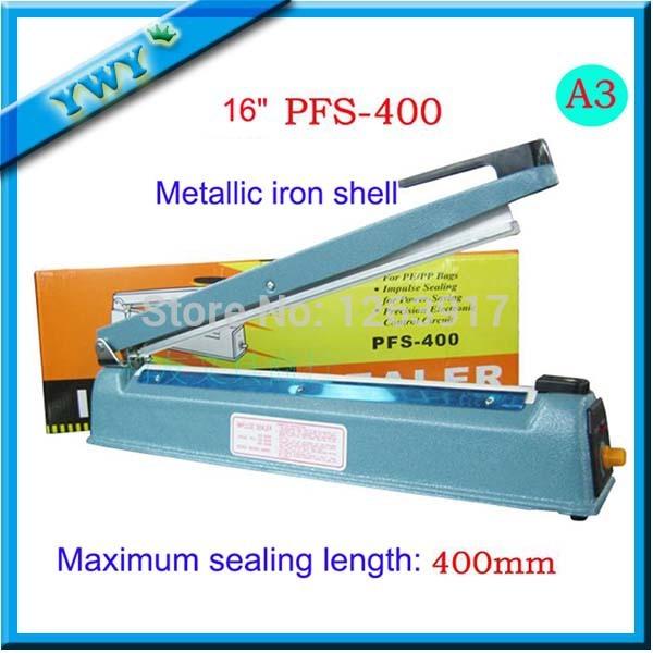 "New 16"" 400mm Hand Manual Impulse Sealer Heat Seal Machine Poly PVC Plastic Shrink Vacuum Bag Film lips Sealing(China (Mainland))"