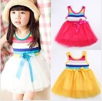 baby girls pretty striped dresses 2014 Girls striped tutu  dress