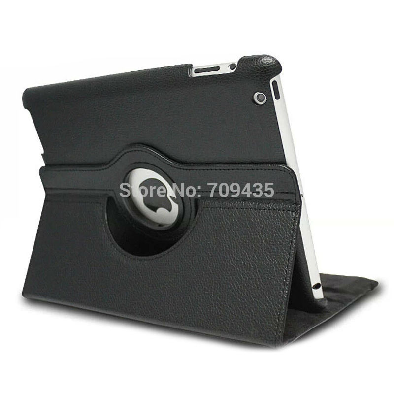 Luxury Rotating Magnetic Leather Stand Case For IPAD2 IPAD3 IPAD4 Cover White or Black(China (Mainland))