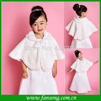 FS-1406281320  Elegant Fur white flower girl short wedding bolero