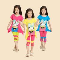2014 new kids apparel girls clothing set vest shirt+Harem Pants for baby summer children short sleeve clothes sets