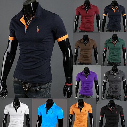 Nell'estate del 2014 uomini colletto a maniche corte t- shirt commercio estero con fulvo ricamo 10 colori
