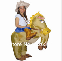 Free Shipping brown Cowboy Inflatable Costume / Adult Fancy Dress Suit / Carnival Halloween Christmas Xmas gift