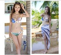 2014 Real Biquini Push Up Bikini Swimsuit Triangle Bikini Three-piece Suit Small Breasts Together Steel Skirt Hot Spring Bathing