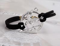 Unisex Fashion Jewelry Hunger Games Laugh Birds Alloy Leather Lucky Bracelet Wholesale 24pcs/lot