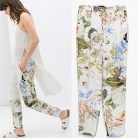 2014 New arrivals Ladies' Elegant floral print pants cozy trousers pockets pencil pants casual harem pants slim brand design