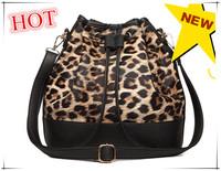 Top Leopard for Grain Leather Women Bucket Bag Handbag, Large Capacity The New 2014 Ms Must-have Handbag