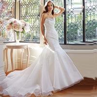 2014 Elegant Asymmetrical Weding Gown Strapless Lace Appliques Beaded Sleeveless Organza Chapel Train Design Bridal Dress