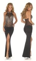 Free shipping 2014 new hot sexy dress stitching mesh fashion evening dress party dress prom dress