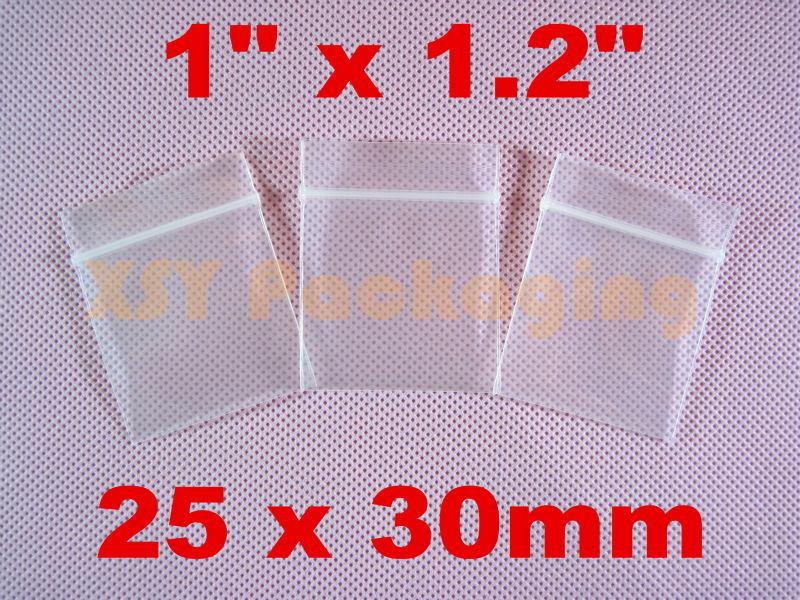 "GREAT BULK PRICE 100 SMALL Plastic Ziplock Thick Reclosable Poly Zipper Bags 1"" x 1.2""_25 x 30mm(China (Mainland))"