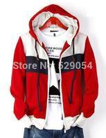 Free new style Hip-Hop preppy style men's autumn clothing coat korean fleece leisure zip hoodie in steel grey 694