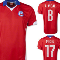 Free Shipping Top Thai Quality 2014 World Cup DE Chile home VALDIVIA MEDEL A.VIDAL Football shirts soccer jersey