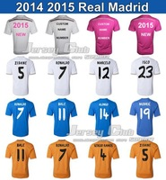 Top Thailand 2014 2015 Real Madrid Jerseys,Free Fast Shipping Embroidery Logo Accepted Customize Real Madrid soccer jerseys