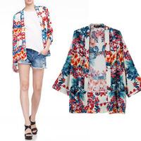 2014 New Fashion Ladies' elegant Floral print kimono cardigan jacket vintage no-button loose coat cape tops casual brand outwear