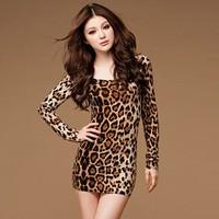 NEW Arrival Ladies Sexy Leopard Cotton Mini Summer Dress Womens Full Sheath Club Dresses