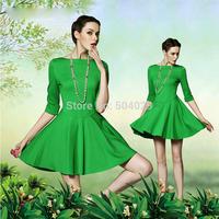Hot Brief Style Green Color Big Hems Mini A-Line Dress Women High-Quality Winter Dress Fashion Office Ladies Half Sleeve Dresses