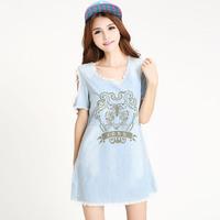 denim dress vestido jeans dress women summer animal print casual dress sundress plus size vintage blue dress korean tunics