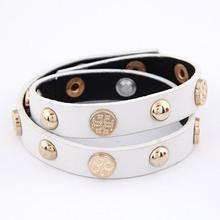 Estilo Punk moda bijuteria Retro Vintage Rivet cruz de pulso acessórios embrulhar Bilayer couro pulseiras Bangles For Lovers(China (Mainland))