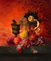 Free shipping  classic painting Pomegranate & grapes  printed oil painting on canvas  BMF1405A