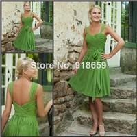 Simple Short Bridesmaid Dresses Sweetheart Green Chiffon Prom Dresses