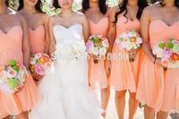A-line sexy Sweetheart Neckline Ruffles Knee-Length short bridesmaid dress peach bridesmaid dress