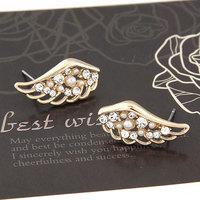 New Fashion sweet Cute Wings Earrings Gold Pearl Stud Earrings For Women accessories Jewelry  Brincos Grandes Wholesale