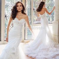 2015 Embellished Strapless Sweetheart Wedding Gown Sleeveless Chapel Train Beaded Ruffles Organza Mermaid Bridal Dress Designer