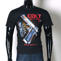New 2014 men's t shirt cool clothing  European style 100% cotton fashion 3D gun pistol printing black t-shirt slim fit XXL