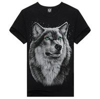 Hot !! 2014 New Fashion Wolf Cartoon Men's Short Sports Slim Fit Stylish Short-Sleeve Shirt Cotton 3DT-shirt men Plus Size:S-XXL