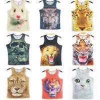 Man's Tops Brand 3D Print Tank Top Mens Cotton Sleeveless Vest T Shirts Sports Jersey Tank 2014 New Summer Fashion Undershirt