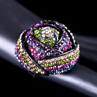 New Arrival Luxurious Fashionable Dazzling Multicolor Elastic Rose Flower Ring FREE SHIPPING(Mini order is $15)