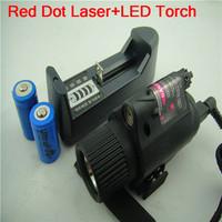 Tactical Mount CREE LED Flashlight&Red Laser Sight Dot Scope Combo Pistols/Gun