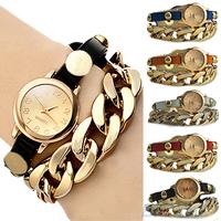 New Arrived Women's Punk Golden Dial Faux Leather Chain Analog Quartz Bracelet Wrist Watch 1JBM