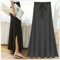4Colors 2014 Summer Korean New All-match Maxi Skirt Fashion Slim High Waist Split Aside Modal Long Pleated Skirts Womens 6518#