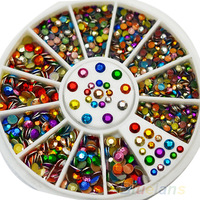 New Arrived Chic Diamante Facet Rivets Nail Art Decoration 2mm 3mm Colorful Metal Studs 1JVO