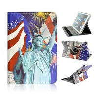 Free shipping,New 360 Rotating USA Statue of Liberty PU Leather Case Stand Cover for ipad 2/3/4/5,wholesale 10 pcs/lot