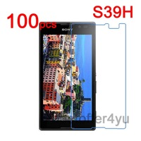 100pcs Anti-scratch CLEAR LCD S39H Screen Protector Guard Cover Film For Sony Xperia C S39H C2305 Protective Film+Cleaning Cloth
