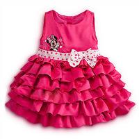 2014 Girls Minnie Mouse dress cake layers dot summer dress autumn baby vest dress bow belt free shipping