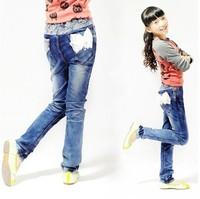Retail 1 Pcs Spring Autumn New 2014 Children Pants Baby & Kids Jeans Girls Jeans Fashion Hot Denim Trousers CC1054