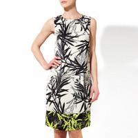 S-XXL Elegant Bamboo Leaf Print Dress Women Lady Sleeveless Slim Dress Party Dress Office Work Career Dress 2014 New C9ML078