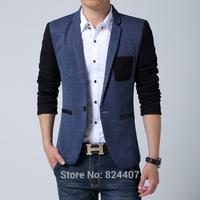 Fall 2014 Casual Mens Blazer Jacket Patchwork Single Breast One Button New Stylish High Fashion Designer Brand Plus Size 5XL 6XL