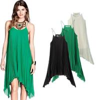2014 New Summer Pleated Beach Asymmetrical Spaghetti Strap Tank dress Pregnant woman Loosen Long Dresses Brief V4410