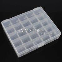 5 X CLEAR PLASTIC EMPTY BOBBIN STORAGE CASE BOX