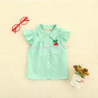 The 2014 Summer cherry dot girl short sleeved shirt,S-XL,free shipping