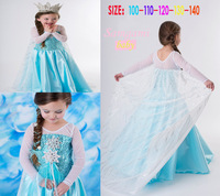 1pcs, New 2014 summer autumn Frozen Princess party Elsa & Anna vestidos For Girls Dress baby & kids dresses lace long sleeve
