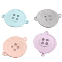 30pcs/lot Wholesale Painting Colorful Buttons Shape Alloy Connector Pendants Fashion Jewelry Charms 32*25*3mm Fit DIY 161831